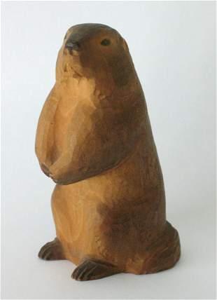 Vintage Folk Art Wood Carving Of A Beaver.