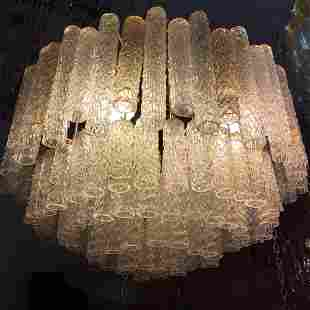 Large Vintage Italian Murano Glass Chandelier by Toni