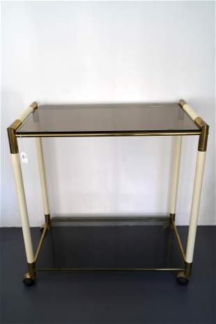Vintage Italian two shelves brass and lacquer trolley