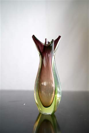 Vintage Italian Sommerso glass vase by Flavio Poli for