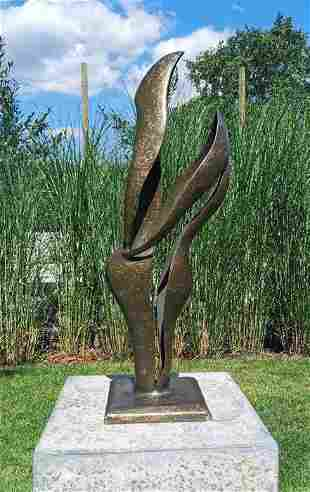 Sculpture, modern abstraction - Patinated bronze -