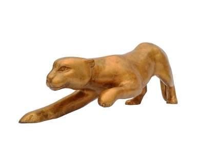 Crawling leopard - Regency bronze sculpture