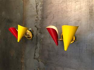 Italian Stilnovo Brass and Lacquered Metal Sconces with