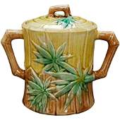 Majolica Sugar with Bamboo Design by Griffen, Smith,