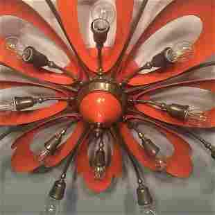 Italian Orange Ceiling Light in the Manner of Angelo