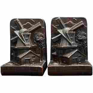 Pair Copper Clad Art Craft Products Bronze Windmill