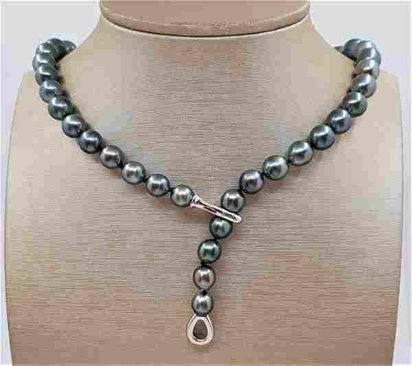 8.5x11mm Shimmering Tahitian Pearls - 925 Silver -