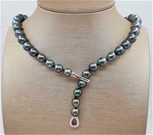8.5x11mm Shimmering Tahitian Pearls - 925 Silver -