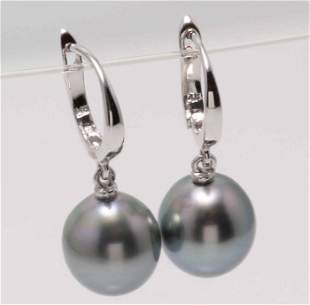 14 kt. White Gold - 10mm Tahitian Pearl Drops -