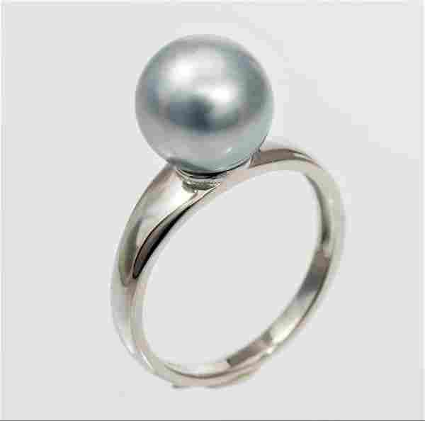 10x11mm Metallic Grey Tahitian Pearl - 925 Silver -