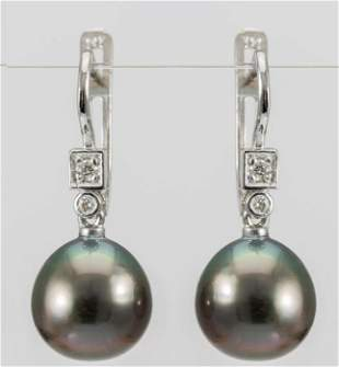 10x11mm Peacock Tahitian Pearl Drops - 14 kt. White