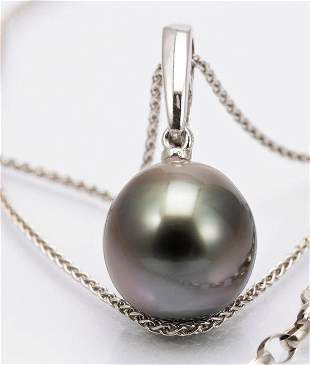 11.5mm Peacock Tahitian Pearl - 14 kt. White gold -