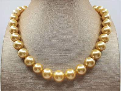 Large 11x14mm Golden South Sea Pearls - Necklace