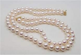14 kt. Yellow Gold - Top grade 8.5x9mm Akoya Pearls -