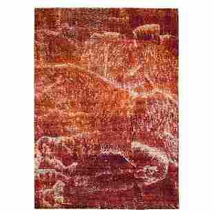 Burnt Orange Mosaic Design Silk With Textured Wool Hand