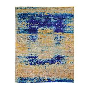 Yellow Sari Silk With Textured Wool Abstract Hand