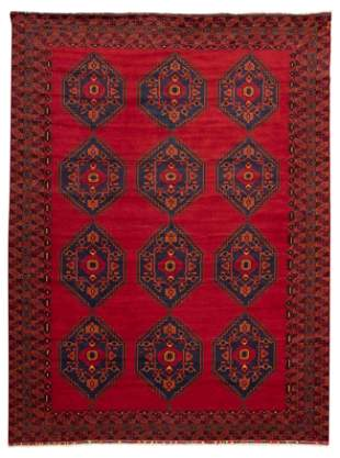 """Hand-knotted Teimani Dark Red Wool Rug 9'10"""" x 12'10"""""""