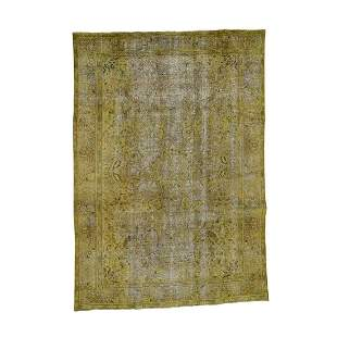 Gold Overdyed Persian Tabriz Sheared Low Hand Knotted