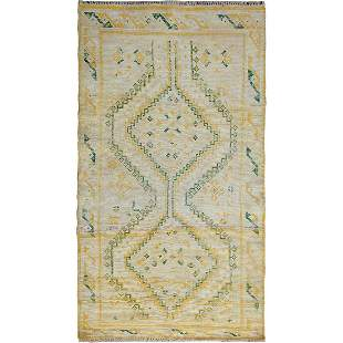 Ivory Worn Down Persian Shiraz Hand Knotted Oriental