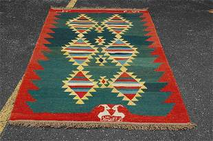 "DETAILED ANTIQUE FINE CAUCASIAN KILIM 4' 5"" x 6' 10"""