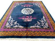 Handmade vintage Art Deco Chinese rug 7.9' x 9.8'