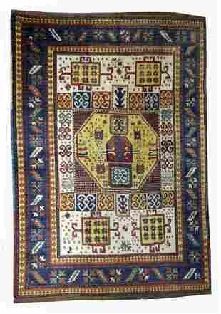 Handmade antique Caucasian Kazak Karachov rug 5.9' x