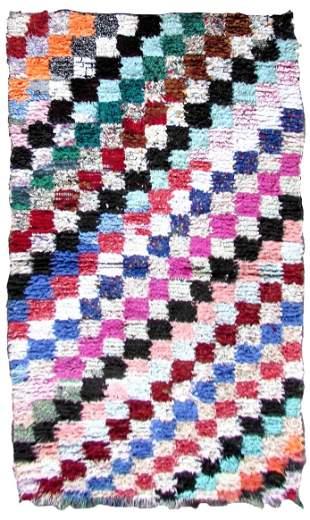 Handmade vintage Moroccan Berber rug 3.4' x 7' (104cm x