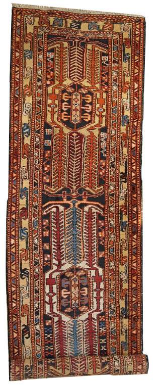 Handmade antique Persian Heriz runner 3.4' x 13.6' (