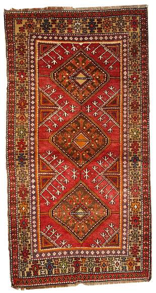 Hand made antique Turkish Anatolian rug 3.5' x 6.8' (