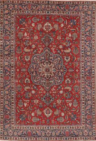 Antique Geometric Tabriz Persian Wool Area Rug 8x11