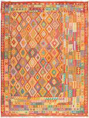 """Hand woven Bold & Colorful Dark Red Wool Kilim 12'10"""" x"""