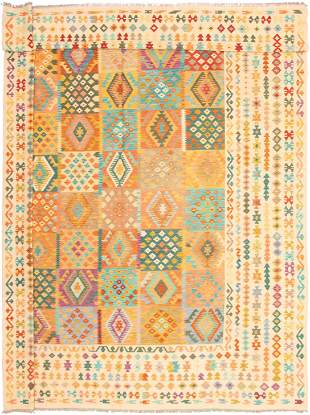 """Hand woven Bold & Colorful Ivory Wool Kilim 12'10"""" x"""