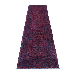 Deep and Saturated Red Geometric Afghan Andkhoy Runner