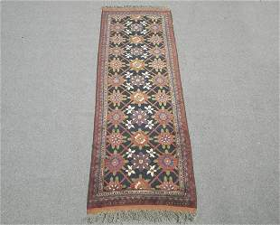 Handmade Wool on Wool Afghan Runner 3.1x8.11