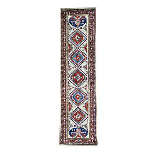 Geometric Design Super Kazak Hand Knotted Runner