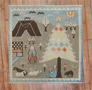 Light Blue Gray Scenic Pictorial Animal Design Turkish