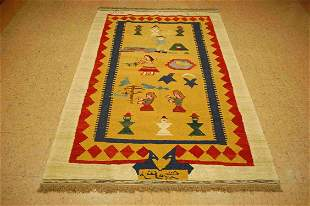 "DETAILED ANTIQUE FINE CAUCASIAN KILIM 4' 6"" x 7'"