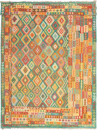 """Hand woven Bold & Colorful Teal Wool Kilim 13'2"""" x"""