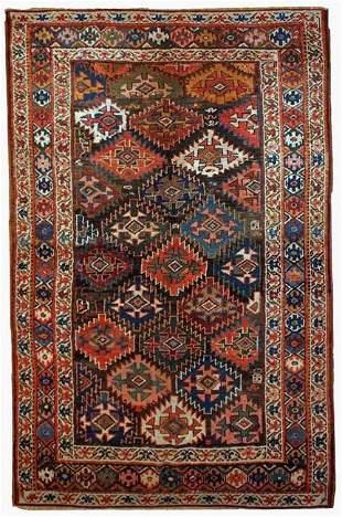 Handmade antique Persian Kurdish rug 4.2' x 6.3' (