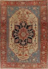Pre-1900 Antique Heriz Serapi Persian Large Rug 11x15
