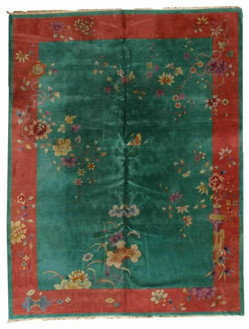 Handmade antique art deco Chinese rug 8.10' x 11.6' (
