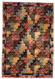 Hand made vintage Art Deco Chinese rug 4' x 6' ( 122cm
