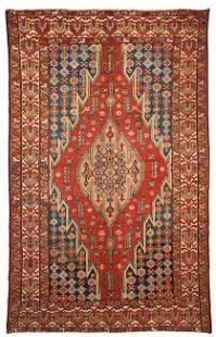 Handmade antique Persian Mazlahan rug 4.1' x 6.3' (