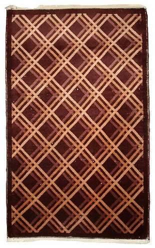 Handmade antique Art Deco Chinese rug 3' x 4.10' ( 91cm