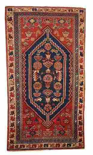 Handmade antique Persian Shiraz rug 3.2' x 5.9' ( 97cm