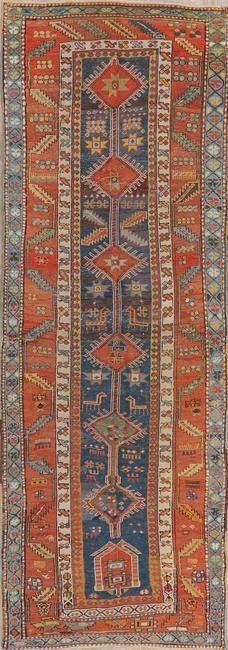 Pre-1900 Antique Vegetable Dye Kazak Oriental Runner