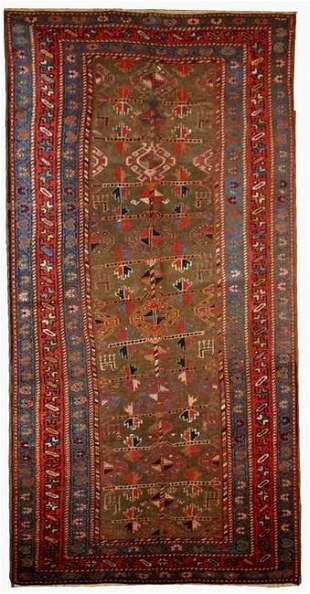 Handmade antique Persian Kurdish rug 4' x 7.6' ( 122cm