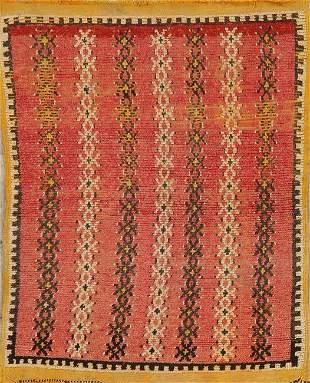 Antique Geometric Red Moroccan Oriental Rug 3x5