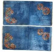 Handmade antique Art Deco Chinese pair of rugs 2