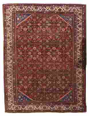 Hand made antique Persian Mahal rug 8.9' x 11.7' (